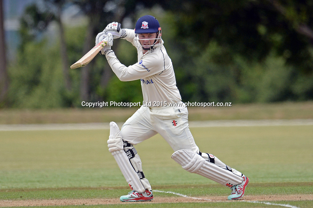 Auckland batsman Colin Munro in action. Plunket Shield. 4 Day match between Auckland and Northern Districts at Colin Maiden Park in Auckland. New Zealand. Sunday 08 February 2015. Copyright Photo: Raghavan Venugopal/www.photosport.co.nz