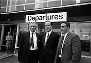 16/07/1967<br /> 07/16/1967<br /> 16 July 1967<br /> Fishermen leave on market research visit to Britain from Dublin Airport. Representatives from Killybegs, Dingle; Kilmore Quay and Castletownbere went on the trip to Fleetwood and Grimsby. Image shows Mr T.F. Geoghegan (centre) Market Development Manager of BIM, chatting with Mr Maurice Moore, Chairman Donegal Co-op Fisheries Ltd. and Mr Michael Rogers, Manager Donegal Co-op Fisheries Ltd. at Dublin Airport prior to their departure for England.