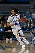 UCLA Bruins guard Tyger Campbell (10) brings the ball up against the San Jose State Spartans during an NCAA college basketball game, Sunday, Dec. 1, 2019, in Los Angeles. UCLA defeated San Jose State 93-64. (Jon Endow/Image of Sport)