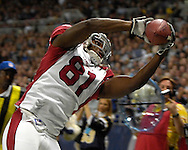 Arizona Cardinals wide receiver Anquan Boldin (81) pulls in a pass along the sideline against St. Louis in the third quarter, at the Edward Jones Dome in St. Louis, Missouri, December 3, 2006.  The Cardinals beat the Rams 34-20.<br />