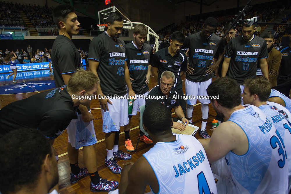 Breakers timeout with Head Coach Dean Vickerman in the SkyCity Breakers v Cairns Taipans, 2014/15 ANBL Basketball Season, North Shore Events Centre, Auckland, New Zealand, Thursday, October 23, 2014. Photo: David Rowland/Photosport
