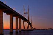 View of the Sidney Lanier cable-stayed bridge in Brunswick, Georgia just before sunrise