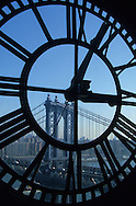New York. Manhattan skyline seen from the clocktower in DUMBO Brooklyn  / panorama de Manhattan vue au travers de la clock tower    DUMBO Brooklyn