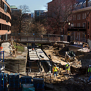 WASHINGTON, DC - MAR23: Repairs are being made to the Chesapeake and Ohio (C&O) Canal in Georgetown, Washington, DC, March 23, 2017. Developers are hoping to upgrade the the one mile stretch of the C&O Canal that runs through Georgetown to  to create a destination experience like the Highline in New York City. (Photo by Evelyn Hockstein/For The Washington Post)