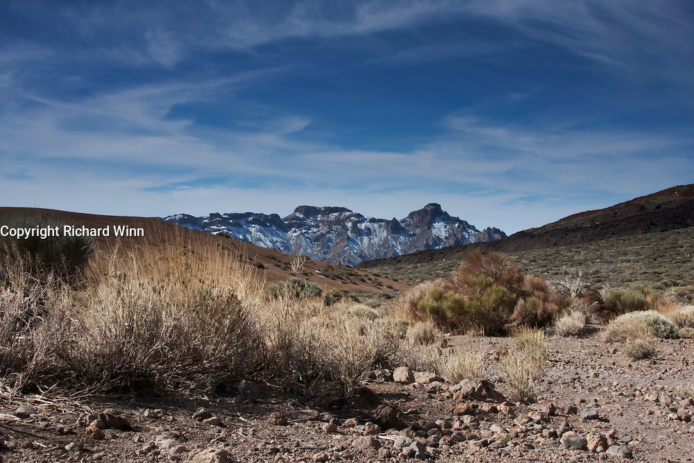View of the rim of the Las Canadas caldera, from the base of the much younger Teide volcano.