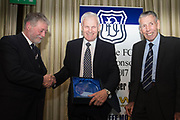 Dundee director Bob Hynd and club president Pat Liney present Alec Stuart with his Hall of Fame award at Dundee FC hall of fame dinner at Invercarse Hotel, Dundee, Photo: David Young<br /> <br />  - &copy; David Young - www.davidyoungphoto.co.uk - email: davidyoungphoto@gmail.com