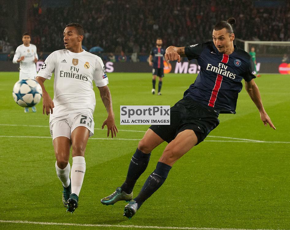 Danilo (Real Madrid) and Zlatan Ibrahimović (Paris Saint-Germain)