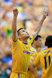 Frank Lampard of Chelsea celebrates after scoring to make it 2-1