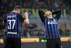 February 17, 2019 - Milan, Milan, Italy - MILAN, ITALY - FEBRUARY 17: Lautaro Martinez #10 of FC Internazionale Milano and Milan Skriniar #37 of FC Internazionale Milano reacts to a missed chance during the serie A match between FC Internazionale and UC Sampdoria at Stadio Giuseppe Meazza on February 17, 2019 in Milan, Italy. (Credit Image: © Giuseppe Cottini/NurPhoto via ZUMA Press)