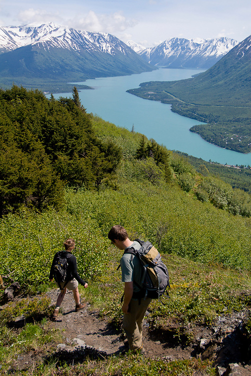 Cooper Landing, Alaska. Hiking up the Slaughter Ridge trail to overlook the Kenai Lake and Cooper Landing in springtime.
