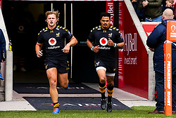 Tommy Taylor of Wasps and Juan de Jongh of Wasps lead their side out on their 50th appearance - Mandatory by-line: Robbie Stephenson/JMP - 05/10/2019 - RUGBY - AJ Bell Stadium - Manchester, England - Sale Sharks v Wasps - Premiership Rugby Cup