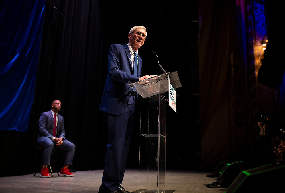 Tony Evers speaks to the audience during the Election Night watch party at the Orpheum Theater in Madison, Wisconsin, Wednesday, Nov. 7, 2018.