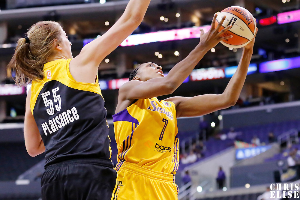 19 June 2014: Los Angeles Sparks forward/center Sandrine Gruda (7) drives past Tulsa Shock forward Theresa Plaisance (55) during the Los Angeles Sparks 87-77 victory over the Tulsa Shock, at the Staples Center, Los Angeles, California, USA.