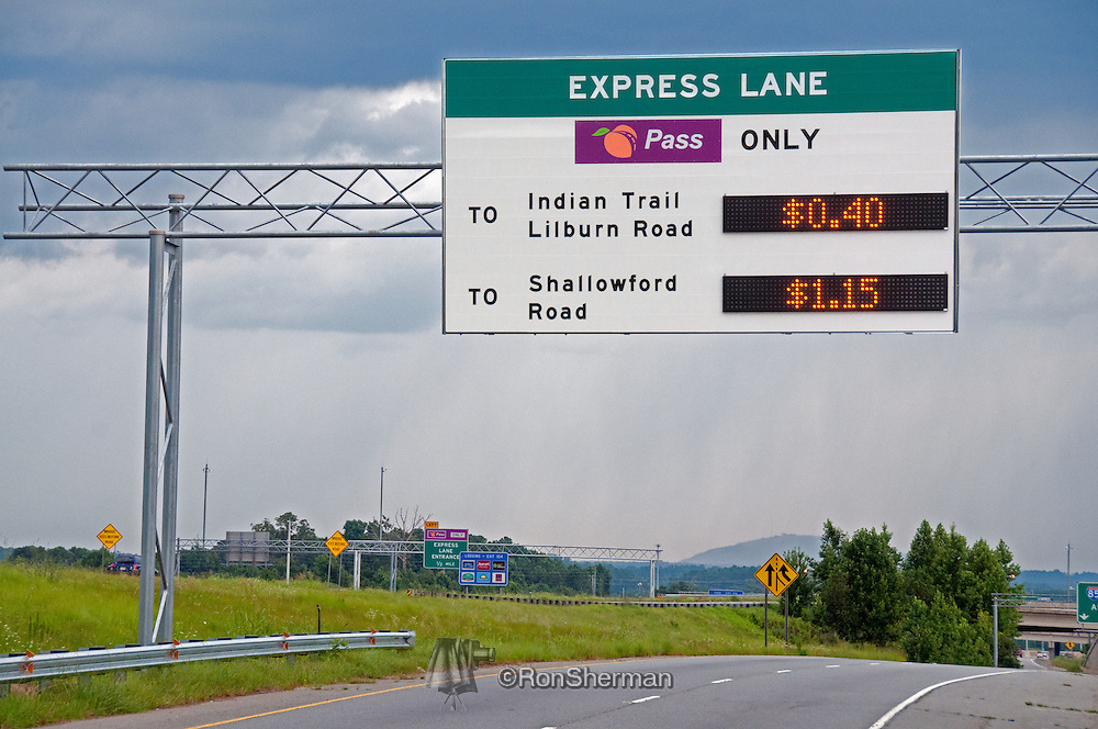 The I-85 Express Lanes are High Occupancy Toll (HOT) lanes open for use by Peach Pass account holders in single- and double-occupant vehicles for a fee, and transit, three- or more person carpools, motorcycles, emergency vehicles, and Alternative Fuel Vehicles (AFV) with the proper AFV license plate (does not include hybrid vehicles) toll-free.
