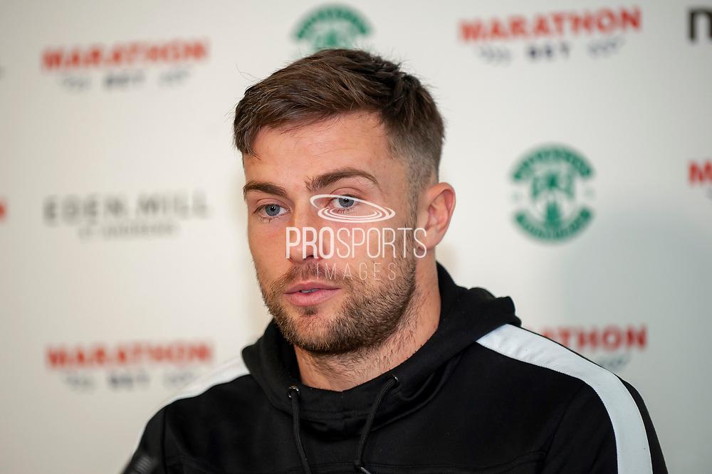 Lewis Stevenson (#16) of Hibernian FC during the Hibernian Press Conference at Hibernian Training Centre, Ormiston, Scotland on 8 November 2018.
