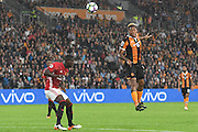 Hull City striker Abel Hernandez (9) heads towards goal  during the Premier League match between Hull City and Manchester United at the KCOM Stadium, Kingston upon Hull, England on 27 August 2016. Photo by Ian Lyall.