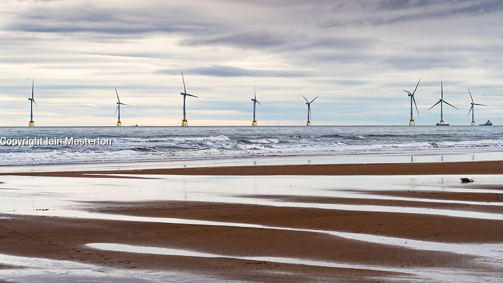 Offshore wind farm in North Sea near Aberdeen , Scotland, Uk