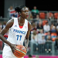 07 August 2012: France Emilie Gomis looks to pass the ball during 71-68 Team France victory over Team Czech Republic, during the women's basketball quarter-finals, at the Basketball Arena, in London, Great Britain.