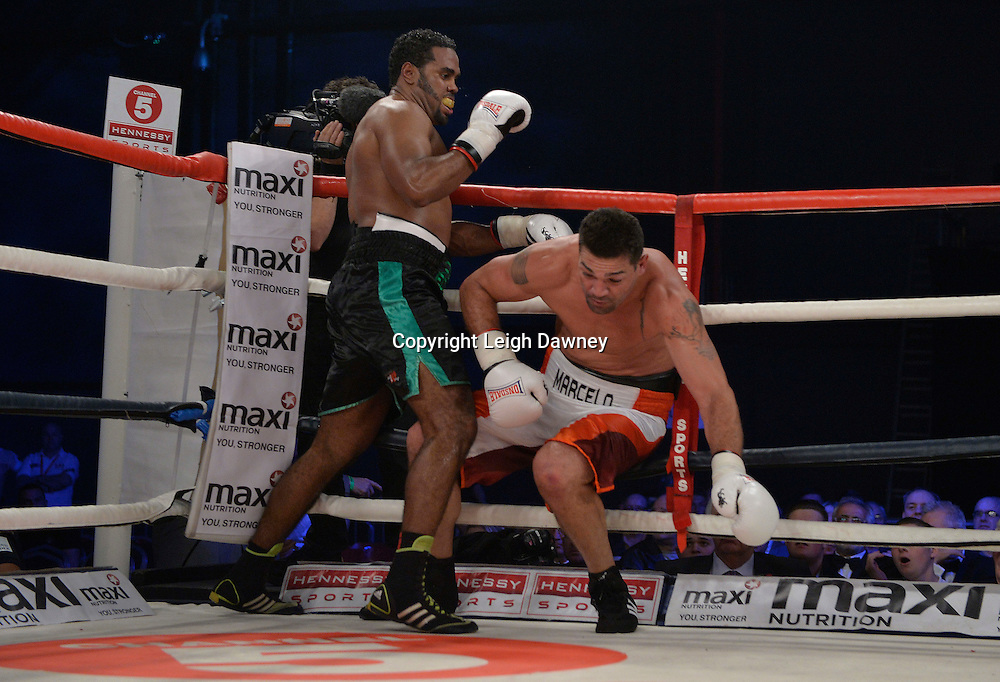 Eddie Chambers (black shorts) defeats Marcelo Luiz Nascimento in a heavyweight boxing contest at Glow, Bluewater, Kent on the 8th November 2014. Promoter: Hennessy Sports. © Leigh Dawney Photography 2014.