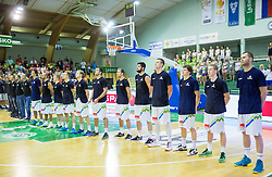Team Slovenia listening to the national anthem during friendly basketball match between National teams of Slovenia and Australia, on August 3, 2015 in Arena Tri lilije, Lasko, Slovenia. Photo by Vid Ponikvar / Sportida