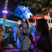 MIAMI BEACH, FLORIDA, NOVEMBER 4, 2016<br /> Live music and dancers entertain pedestrians in front of The Clevelander Hotel in Miami Beach's popular Ocean Drive on a Friday night. Recent incidents of violence and crime are pushing the city of Miami Beach to try to alter the appeal of the area.<br /> (Photo by Angel Valentin/Freelance)