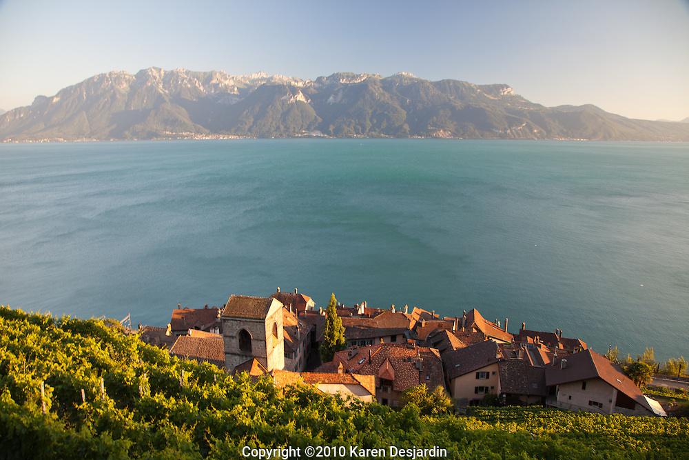 Vineyards and the village of Saint-Saphorin, sit along the northern shore of Lake Geneva in the Lavaux wine region of Switzerland. The ancient wine region is a UNESCO World Heritage Site.