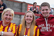 Bradford City fans during the Capital One Cup match between York City and Bradford City at Bootham Crescent, York, England on 11 August 2015. Photo by Simon Davies.