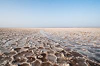 Salt lake after a rare and brief flash flood. Danakil Depression, Ethiopia. 2013