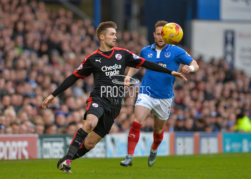 Crawley Town Midfielder Gwion Edwards and Portsmouth defender Ben Davies during the Sky Bet League 2 match between Portsmouth and Crawley Town at Fratton Park, Portsmouth, England on 2 January 2016. Photo by Adam Rivers.