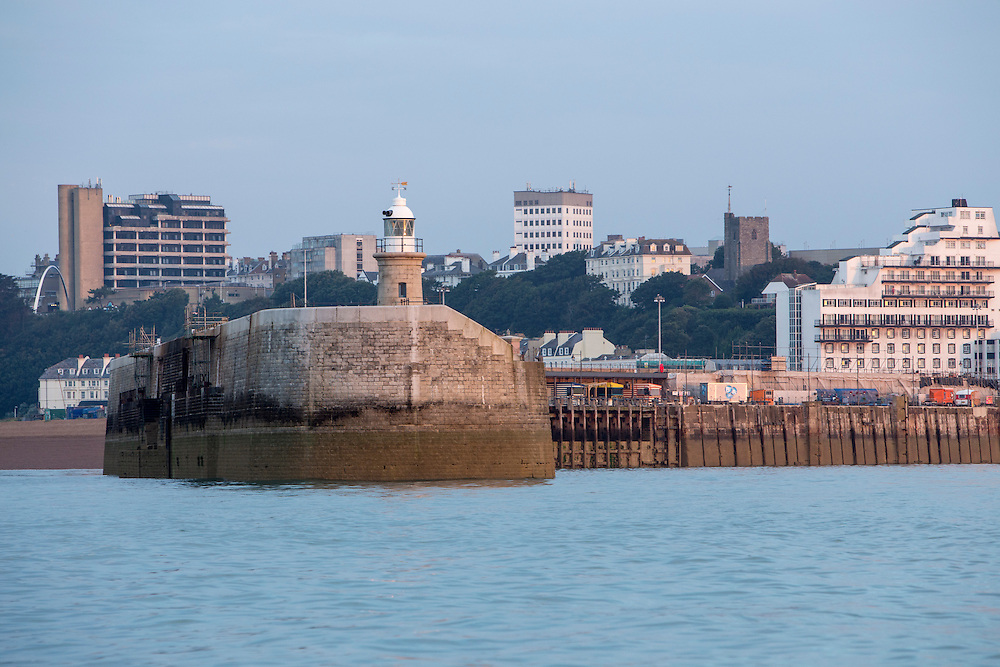 The lighthouse at the end of Folkestone Harbour Arm at dawn in Folkestone, Kent, England, United Kingdom. The Harbour Arm has recently been redeveloped and the lighthouse has turned into a Champagne Bar and exhibits one of the Folkestone Artworks.  (photo by Andrew Aitchison / In pictures via Getty Images)