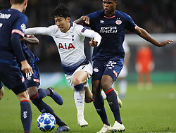 BRITAIN-LONDON-FOOTBALL-CHAPIONS LEAGUE-HOTSPUR VS EINDHOVEN.(181106) -- LONDON, Nov. 6, 2018  Tottenham Hotspur's Heung-Min Son (2nd R) is fouled during the UEFA Champions League match between Tottenham Hotspur and PSV Eindhoven in London, Britain on Nov. 6, 2018. Tottenham Hotspur won 2-1.  FOR EDITORIAL USE ONLY. NOT FOR SALE FOR MARKETING OR ADVERTISING CAMPAIGNS. NO USE WITH UNAUTHORIZED AUDIO, VIDEO, DATA, FIXTURE LISTS, CLUBLEAGUE LOGOS OR ''LIVE'' SERVICES. ONLINE IN-MATCH USE LIMITED TO 45 IMAGES, NO VIDEO EMULATION. NO USE IN BETTING, GAMES OR SINGLE CLUBLEAGUEPLAYER PUBLICATIONS. (Credit Image: © Xinhua via ZUMA Wire)