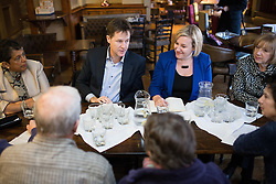 © Licensed to London News Pictures . 13/01/2015 . Stockport , UK . Deputy Prime Minister Nick Clegg (l) meets with Lisa Smart (r) (Lib Dem PPC for Hazel Grove) and members of High Lane Residents' Association , at the Red Lion Inn , High Lane , Hazel Grove . Photo credit : Joel Goodman/LNP