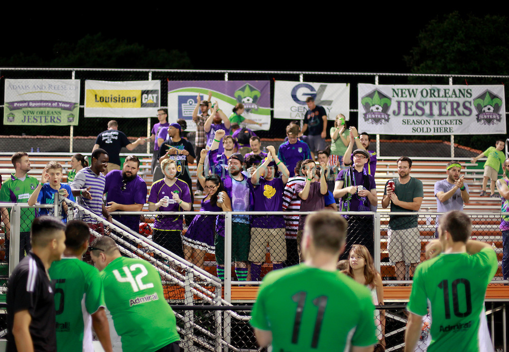 13 June 2015. New Orleans, Louisiana.<br /> National Premier Soccer League. NPSL. <br /> Members of the Royal Court, jesters fans celebrate the New Orleans Jesters 3-2 victory against Texas' Premier Soccer League's (TPSL) runner-up, the Houston Hurricanes at home in the Pan American Stadium.<br /> Photo; Charlie Varley/varleypix.com