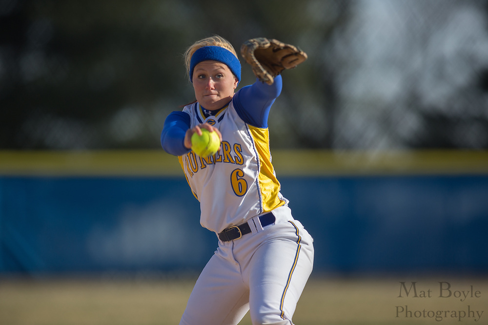 Gloucester County College softball pitcher Erin Huesser (6) - Orange County Community College Softball at Gloucester County College at Gloucester County College softball fields in Sewell, NJ on Tuesday April 2, 2013. (photo / Mat Boyle)