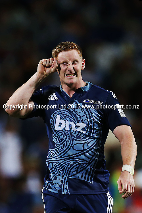 Hamish Northcot of the Blues is dejected with the defeat. Super Rugby match, Blues v Chiefs at QBE Stadium, Auckland, New Zealand. Saturday 14 February 2015. Photo: Anthony Au-Yeung / www.photosport.co.nz