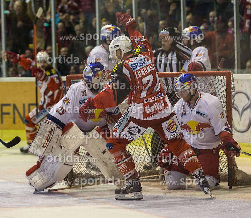 29.03.2015, Stadthalle, Klagenfurt, AUT, EBEL, EC KAC vs EC Red Bull Salzburg, 4. Spiel Playoff Halbfinale, im Bild Luka Gracnar (EC Red Bull Salzburg, #35), Jamie Lundmark (EC KAC, #74), Brian Fahey (EC Red Bull Salzburg, #2), Jean-Francoir Jacques (EC KAC, #39) // during the Erste Bank Icehockey League 4th game playoff seminfinals match betweeen EC KAC and EC Red Bull Salzburg at the City Hall in Klagenfurt, Austria on 2015/03/29. EXPA Pictures © 2015, PhotoCredit: EXPA/ Gert Steinthaler