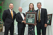 From left, Russ Eisenstein, Tom Davis, Ellen Herman and Jim Schaus pose after Herman was inducted into the Kermit Blosser Ohio Athletics Hall of Fame during the 2016 Alumni Awards Gala at Ohio University's Baker Center Ballroom on Friday, October 07, 2016.