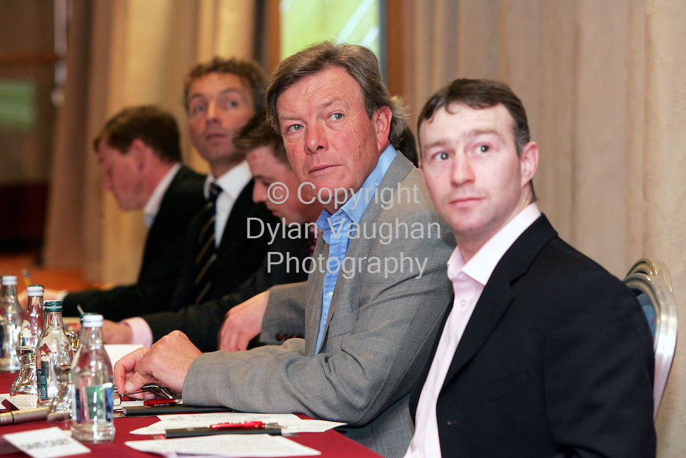 8/3/2006.Edward O Grady pictured at the sixth annual Harney Bookmakers Cheltenham Preview night at the Hotel Minella in Clonmel with David Casey to his right..Picture Dylan Vaughan.