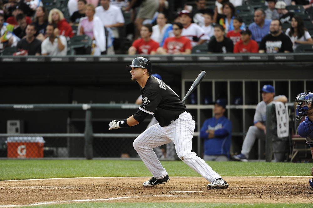 CHICAGO - JULY 10:  A.J. PIerzynski #12 of the Chicago White Sox bats against the Kansas City Royals on July 10, 2010 at U.S. Cellular Field in Chicago, Illinois.  The White Sox defeated the Royals 5-1.  (Photo by Ron Vesely)