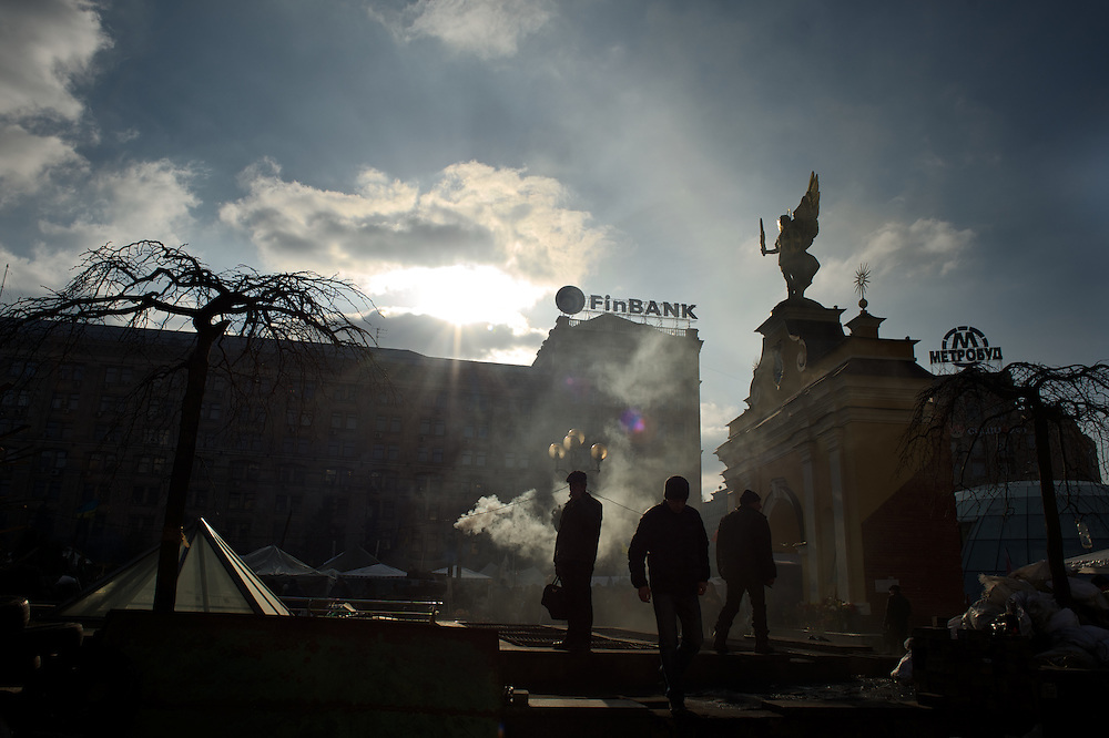 KIEV, UKRAINE - February 24, 2014: Anti-government protestors remain put in Maidan the day after the fall of Viktor Yanukovych's government. CREDIT: Paulo Nunes dos Santos