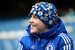 A Chelsea fan in the stands
