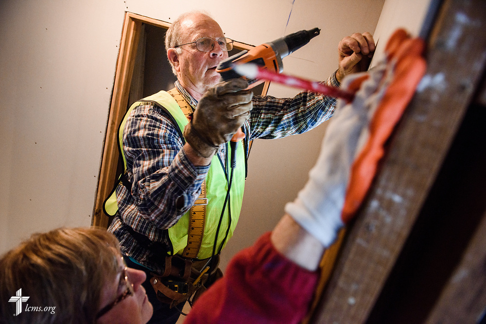 Volunteers Ken and Rhonda Kruse from Redeemer Lutheran Church, Peoria, Ill., help rebuild the hurricane-damaged home of Trinidad and Linda Hernandez on Thursday, Feb. 8, 2018, in Houston. Recovery work is still underway almost six months after Hurricane Harvey devastated parts of Texas.  LCMS Communications/Erik M. Lunsford