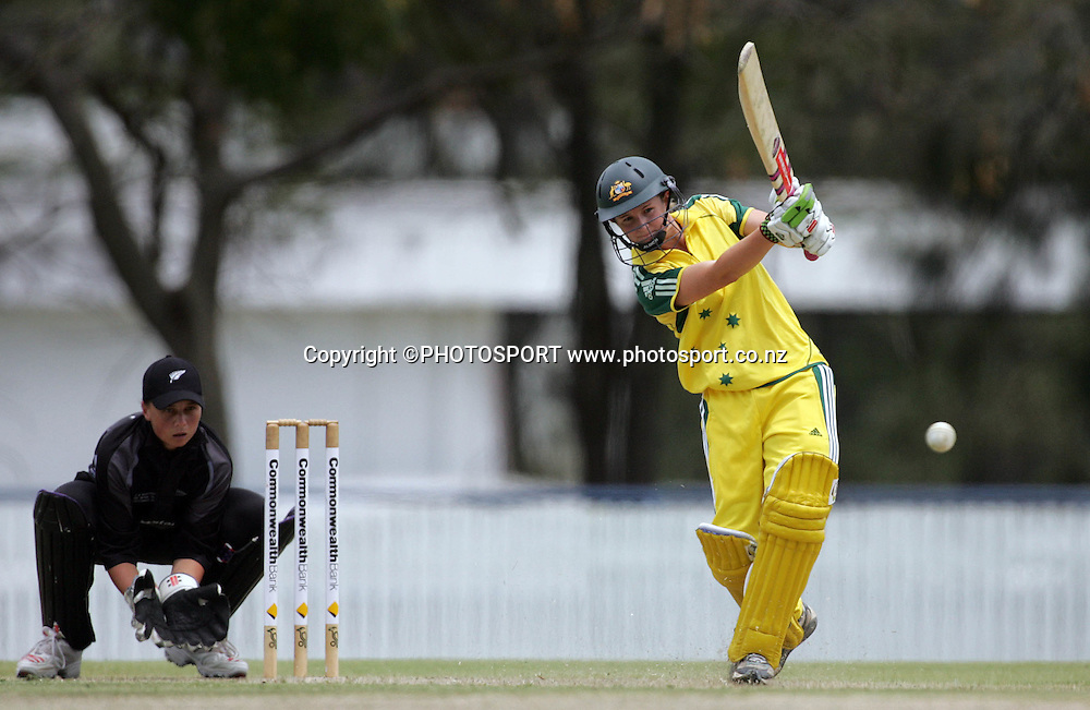 Australia's Leah Poulton on her way to a score of 68 during the fourth ODI Rose Bowl cricket match between the White Ferns and Australia at Allan Border Field, Brisbane, Australia, on Thursday 26 October 2006. Australia won the match by 85 runs with a total of 252. Photo: Renee McKay/PHOTOSPORT<br /><br /><br />261006