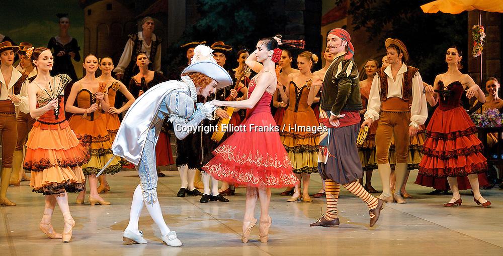 Don Quixote.The Mikhailovsky Ballet at The London Coliseum.London, Great Britain, Pavel Maslennikov as Gamache, Natalia Osipova as Kitri, March 30, 2013. Photo by Elliott Franks / i-Images..