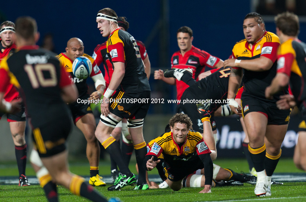 Chiefs' Tawera Kerr-Barlow gets a dive pass away during the Super Rugby Semi Final won by the Chiefs (20-17) against the Crusaders at Waikato Stadium, Hamilton, New Zealand, Friday 27 July 2012. Photo: Stephen Barker/Photosport.co.nz