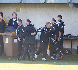Alloa Athletic's bench cele Iain Flannigan scoring their second goal.<br /> Alloa Athletic 2 v 1 Hibernian, Scottish Championship game played 30/8/2014 at Alloa Athletic's home ground, Recreation Park, Alloa.