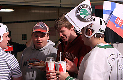 Young Slovakian fans bought some food at Metro arena at ice-hockey game Slovenia vs Slovakia at Relegation  Round (group G) of IIHF WC 2008 in Halifax, on May 09, 2008 in Metro Center, Halifax, Nova Scotia, Canada. Slovakia won 5:1. (Photo by Vid Ponikvar / Sportal Images)