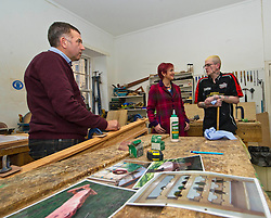 Pictured: Tommy Steel, workshop manager, Angela Constance and regular visitor and worker Steven Scott <br /> <br /> Communities Secretary Angela Constance MSP visited the Grassmarket Community Project today to see how a successful social enterprise works. While she was there, Ms Constance launched the Scottish Government's social enterprise strategy.<br /> <br /> Ger Harley | EEm 14 December 2016