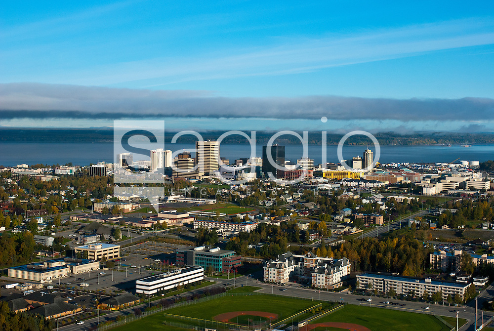 Aerial view looking north at downtown Anchorage, Alaska. Fall in Southcentral Alaska.