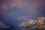 Arctic sky and landscape at Ersfjordbotn on Klavoya Island near Tromso, Northern Norway
